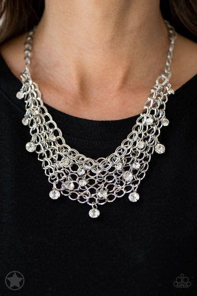 Fishing for Compliments - Silver and Rhinestone Necklace - Paparazzi Accessories - GlaMarous Titi Jewels