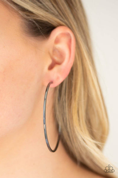 Perfect Shine - Black Hoop Earrings - Paparazzi Accessories - GlaMarous Titi Jewels