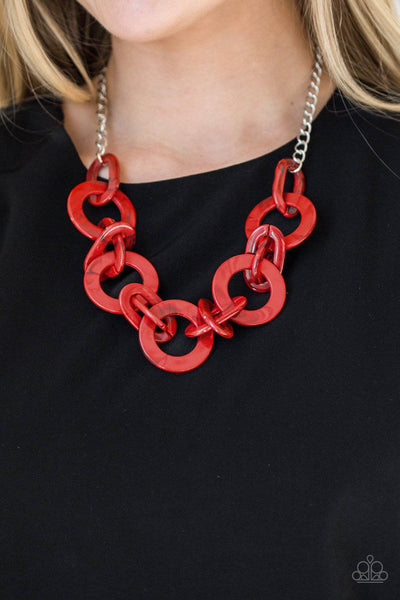 Chromatic Charm - Red Acrylic Necklace - Paparazzi Accessories - GlaMarous Titi Jewels