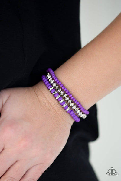Ideal Idol - Purple Stretchy Bracelets - Paparazzi Accessories - GlaMarous Titi Jewels