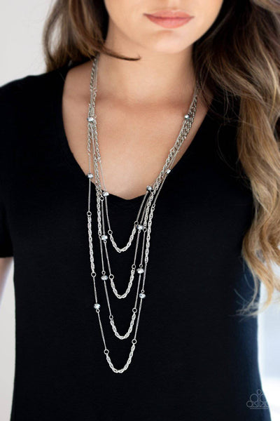 Open For Opulence - Silver Crystal-Like Bead Necklace - Paparazzi Accessories - GlaMarous Titi Jewels