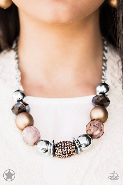 A Warm Welcome - Brown & Copper Blockbuster Necklace - Paparazzi Accessories - GlaMarous Titi Jewels