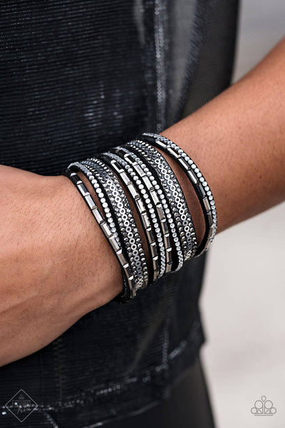 A Wait-and-SEQUIN Attitude - Black & White Rhinestone Wrap Bracelet - Paparazzi Accessories - GlaMarous Titi Jewels
