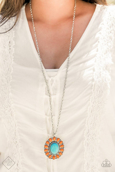 Rancho Roamer - Orange & Turquoise Necklace - Paparazzi Accessories - GlaMarous Titi Jewels