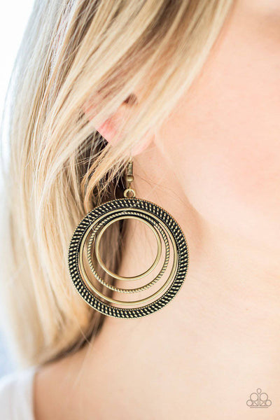 Totally Textured - Brass Studded Hoop Earrings - Paparazzi Earrings - GlaMarous Titi Jewels