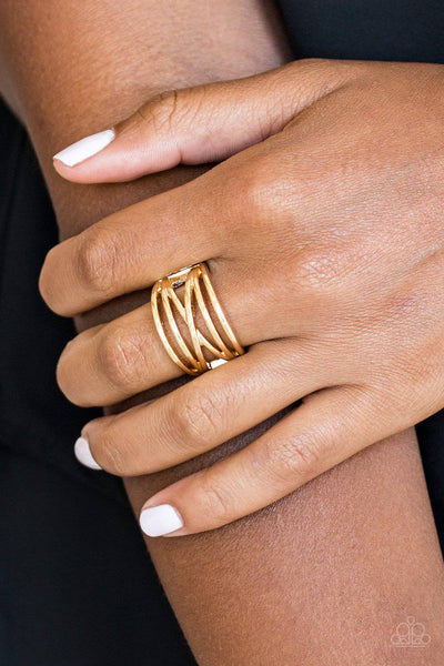 Way Wayward - Gold Crisscross Ring - Paparazzi Accessories - GlaMarous Titi Jewels