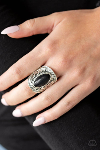 Ground RULER Black Ring - Paparazzi Accessories - GlaMarous Titi Jewels