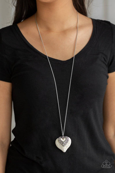 Southern Heart - White Heart Necklace - Paparazzi Accessories - GlaMarous Titi Jewels