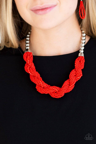 Savannah Surfin - Red Seed Bead Necklace - Paparazzi Accessories - GlaMarous Titi Jewels