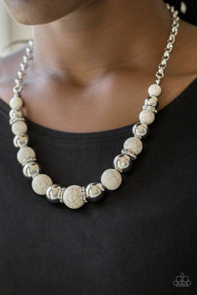 The Ruling Class - White Stone Bead Necklace - Paparazzi Accessories - GlaMarous Titi Jewels