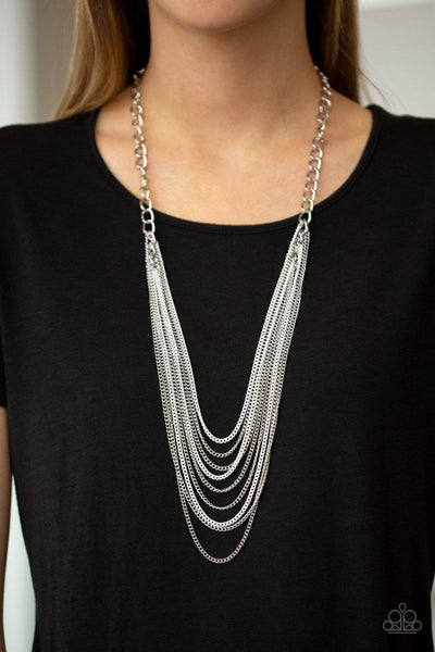 Rebel Rainbow - White & Silver Chain Necklace - Paparazzi Accessories - GlaMarous Titi Jewels