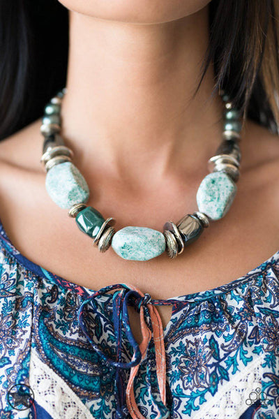 In Good Glazes - Blue Blockbuster Necklace - Paparazzi Accessories - GlaMarous Titi Jewels
