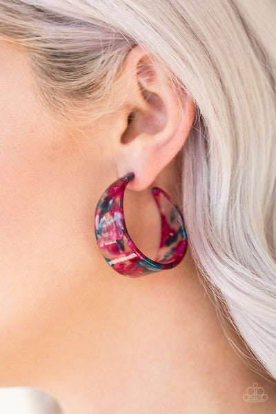 Havana Heat Wave - Pink Multicolored Acrylic Earrings - Paparazzi Accessories - GlaMarous Titi Jewels