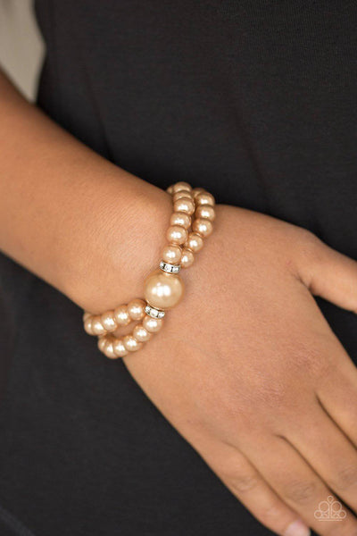 Romantic Redux - Brown Pearl Stretchy Bracelet - Paparazzi Accessories - GlaMarous Titi Jewels