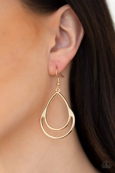 Simple Glisten - Gold Teardrop Earrings - Paparazzi Accessories - GlaMarous Titi Jewels