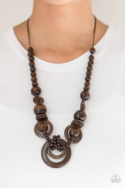 Boardwalk Party - Brown Wood Necklace - Paparazzi Accessories - GlaMarous Titi Jewels