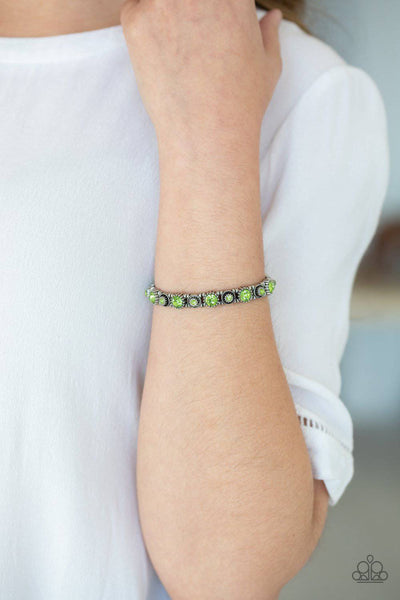 Heavy On The Sparkle - Green Rhinestone Bracelet - Paparazzi Accessories - GlaMarous Titi Jewels
