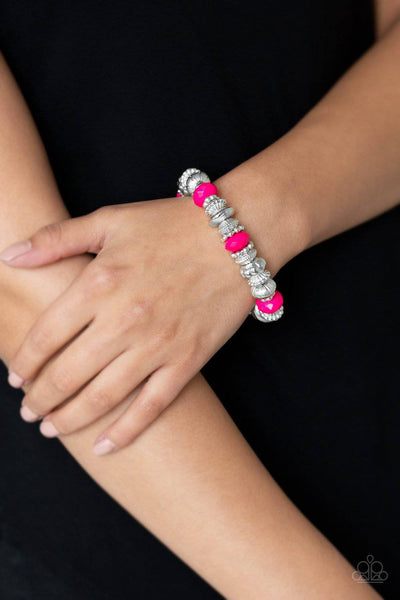 Live Life To The COLOR-fullest - Pink Bead Stretchy Bracelet - Paparazzi Accessories - GlaMarous Titi Jewels