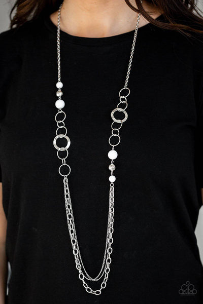 Modern Motley - White Bead Necklace - Paparazzi Accessories - GlaMarous Titi Jewels