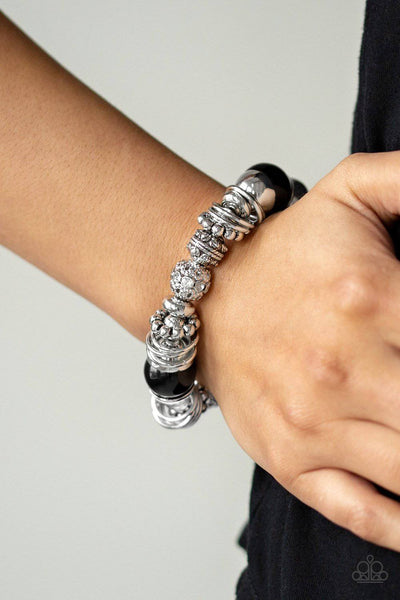 Uptown Tease - Black Bead and Silver Stretchy Bracelet - Paparazzi Accessories - GlaMarous Titi Jewels