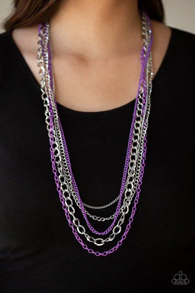 Industrial Vibrance - Purple & Silver Necklace - Paparazzi Accessories - GlaMarous Titi Jewels