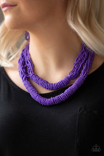 Right As RAINFOREST - Purple Seed Bead Necklace - Paparazzi Accessories - GlaMarous Titi Jewels