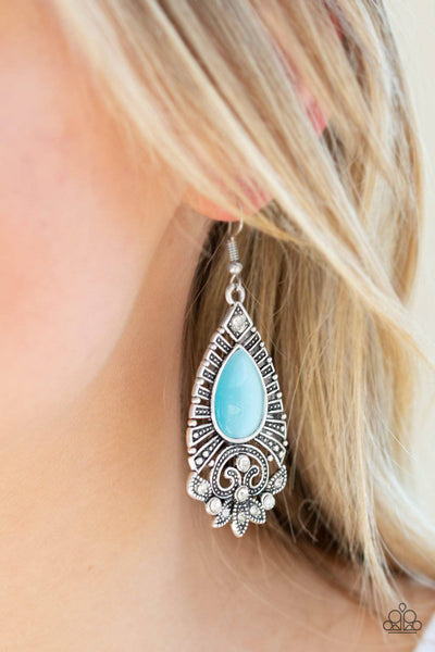 Majestically Malibu - Blue Moonstone Earrings - Paparazzi Accessories - GlaMarous Titi Jewels