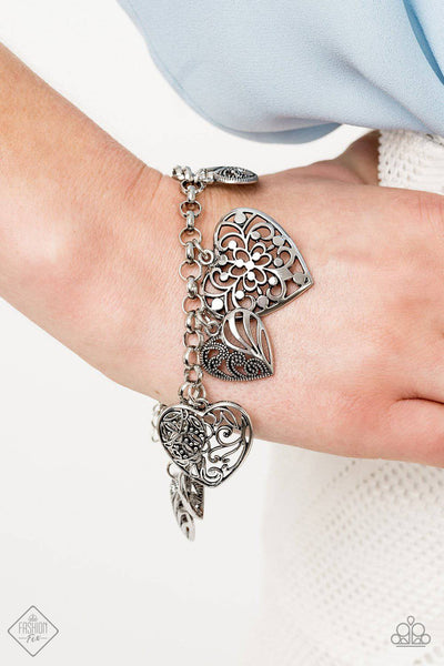 Completely Devoted - Silver Heart Bracelet - Paparazzi Accessories - GlaMarous Titi Jewels