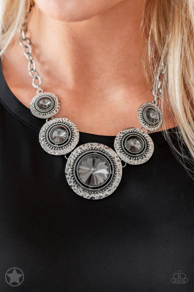 Global Glamour - Silver Smoky Gem Necklace - Paparazzi Accessories - GlaMarous Titi Jewels
