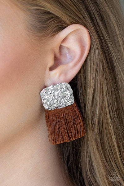 Plume Bloom - Brown Tassel Earrings - Paparazzi Accessories - GlaMarous Titi Jewels
