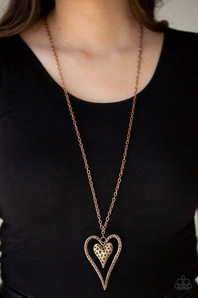 Hardened Hearts - Copper Heart Necklace - Paparazzi Accessories - GlaMarous Titi Jewels