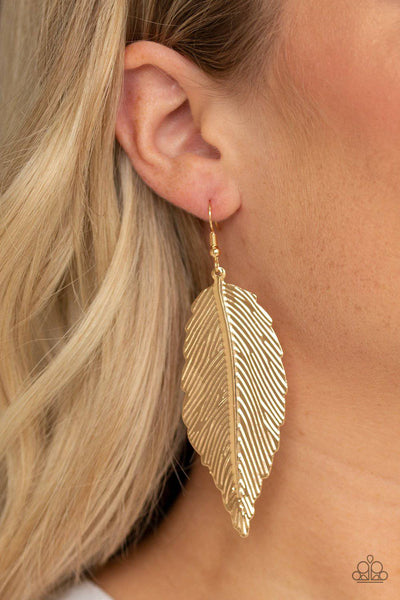 Lookin For A FLIGHT - Gold Feather Earrings - Paparazzi Accessories - GlaMarous Titi Jewels