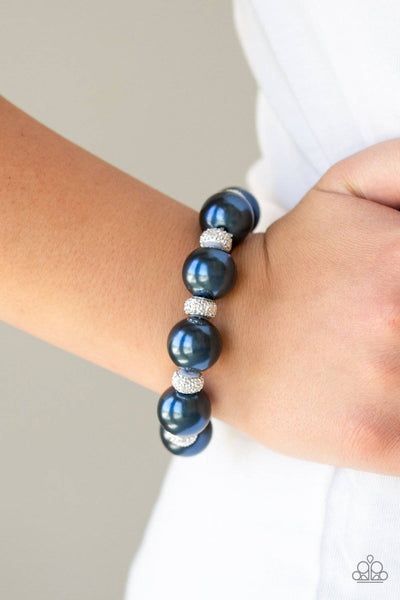 Extra Elegant - Blue Pearl Stretchy Bracelet - Paparazzi Accessories - GlaMarous Titi Jewels