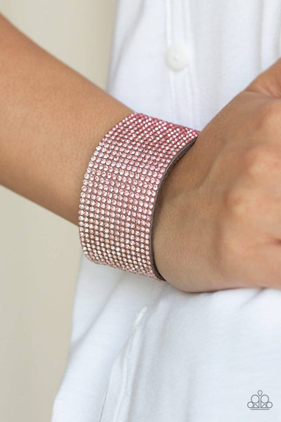 Fade Out - Pink Rhinestone Wrap Bracelet - Paparazzi Accessories - GlaMarous Titi Jewels