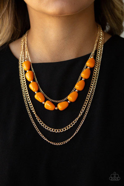 Trend Status - Orange & Gold Necklace - Paparazzi Accessories - GlaMarous Titi Jewels