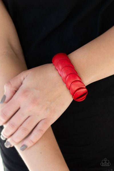 Nomadic Nature - Red Stone Stretchy Bracelet - Paparazzi Accessories - GlaMarous Titi Jewels