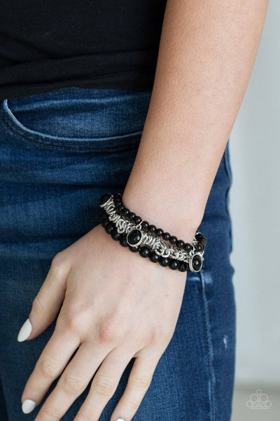 Good Vibes Only - Black Bead Stretchy Bracelet - Paparazzi Accessories - GlaMarous Titi Jewels