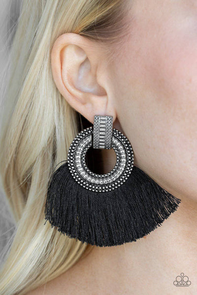 I Am Spartacus - Black Fringe Earrings - Paparazzi Accessories - GlaMarous Titi Jewels