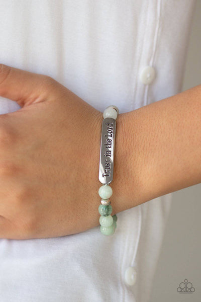 Trust Always - Green Stretchy Bead Bracelet - Paparazzi Accessories - GlaMarous Titi Jewels