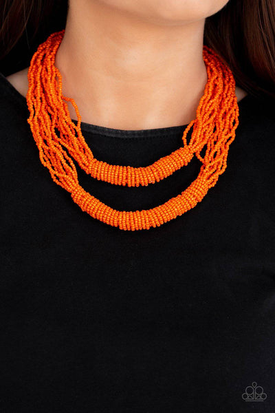 Right As RAINFOREST - Orange Seed Bead Necklace - Paparazzi Accessories - GlaMarous Titi Jewels
