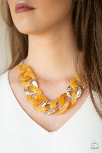 I Have A HAUTE Date - Yellow Acrylic Necklace - Paparazzi Accessories - GlaMarous Titi Jewels