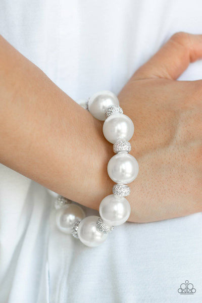 Extra Elegant - White Pearl Stretchy Bracelet - Paparazzi Accessories - GlaMarous Titi Jewels