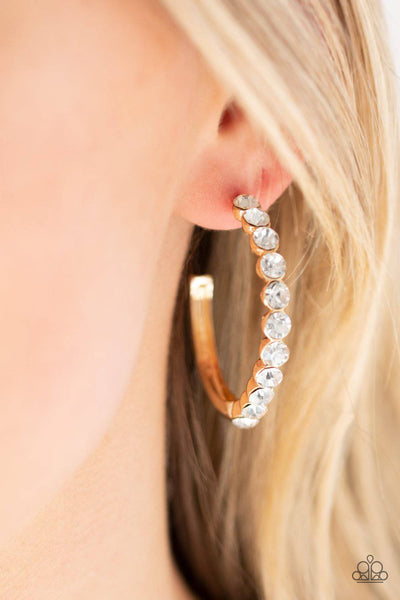 My Kind Of Shine - Gold Rhinestone Earrings - Paparazzi Accessories - GlaMarous Titi Jewels