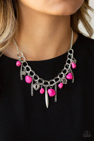 Southern Sweetheart - Pink Floral and Heart Charm Necklace - Paparazzi - GlaMarous Titi Jewels