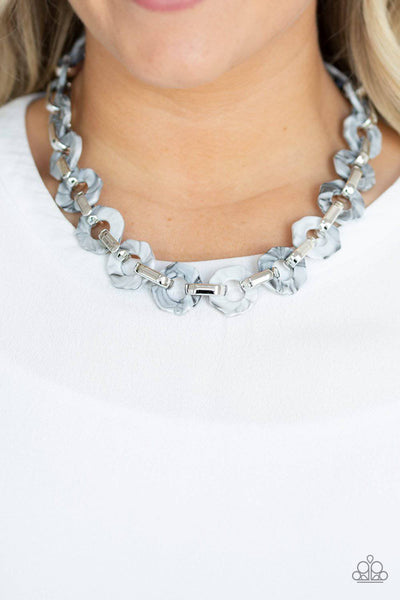Fashionista Fever - Silver Acrylic Necklace - Paparazzi Accessories - GlaMarous Titi Jewels