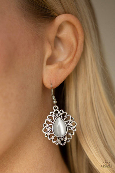 Totally GLOWN Away - White Cat's Eye Earrings - Paparazzi Accessories - GlaMarous Titi Jewels