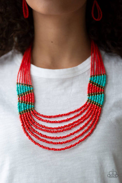 Kickin It Outback - Red Seed Bead Necklace - Paparazzi Accessories - GlaMarous Titi Jewels
