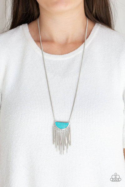 Desert Hustle -Turquoise Half Moon Pendant Necklace - Paparazzi Accessories - GlaMarous Titi Jewels