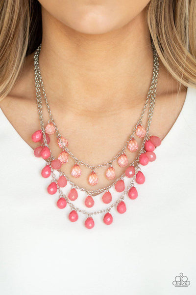Melting Ice Caps - Coral Pink Necklace - Paparazzi Accessories - GlaMarous Titi Jewels