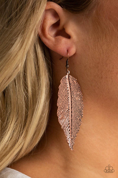 Lookin For A FLIGHT - Copper Feather Earrings - Paparazzi Accessories - GlaMarous Titi Jewels